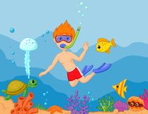 Snorkeling boy cartoon Royalty Free Stock Images