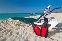 Snorkeling at the Caribbean Sea. Snorkeling equipment at the Caribbean Sea Royalty Free Stock Images