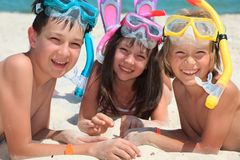 Snorkeling Children Stock Photo