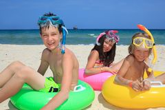 Snorkeling Children Royalty Free Stock Image