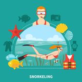 Snorkeling Composition On Turquoise Background Royalty Free Stock Photo