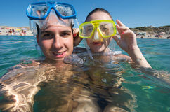 Snorkeling couple Royalty Free Stock Photo