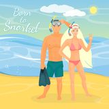 Snorkeling couple vector flat illustration Stock Images