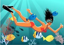 Snorkeling dziewczyna ilustracja wektor
