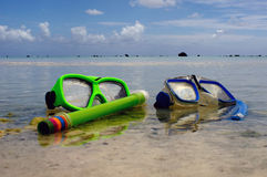 Snorkeling equipment in Aitutaki Lagoon Cook Islands Royalty Free Stock Images