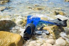 Snorkeling equipment ashore royalty free stock image