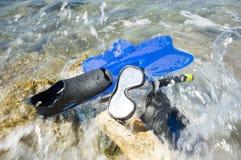 Snorkeling equipment ashore stock photography