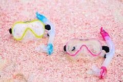 Snorkeling equipment on beach Stock Photos