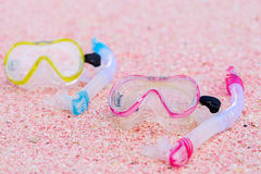 Snorkeling equipment on beach Royalty Free Stock Images