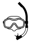 Snorkeling equipment black and white icon Stock Photo
