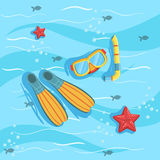 Snorkeling Equipment With Blue Sea Water On Background. Beach Vacation Related Illustration Drawn From Above In Simple Vector Cartoon Style Stock Photos