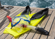 Snorkeling equipment on the deck of a motor boat Stock Photo