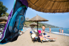 Snorkeling equipment. Fins, tube and mask ready diving at the beach royalty free stock images