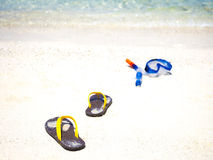 Snorkeling equipment on sand beach Royalty Free Stock Photo