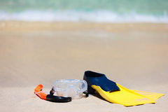 Snorkeling equipment on sand Stock Photo