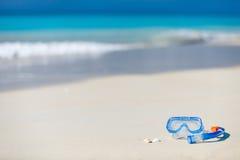 Snorkeling equipment on sand Stock Photos