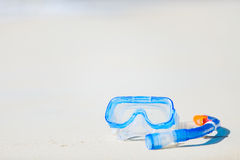 Snorkeling equipment on sand Royalty Free Stock Images