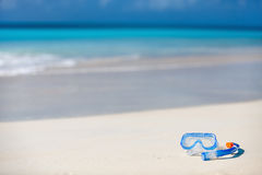 Snorkeling equipment on sand Royalty Free Stock Photos