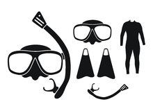 Snorkeling equipment - silhouette. Suitable for illustrations Royalty Free Stock Photography