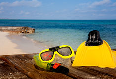 Snorkeling gear on beach stock photos
