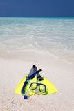 Snorkeling gear on the beach Royalty Free Stock Photo