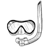 Snorkeling gear drawing Stock Photos