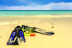 Snorkeling gear on Sandy beach by the sea in Maldives Stock Photos