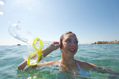 Snorkeling girl Royalty Free Stock Photography