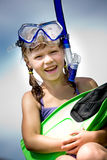 Snorkeling girl Stock Images