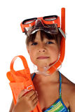 Snorkeling girl. Girl wearing snorkeling goggles and snorkel mouthpieces Royalty Free Stock Images