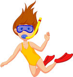 Snorkeling girl cartoon Royalty Free Stock Photo
