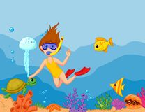 Snorkeling girl cartoon Stock Image