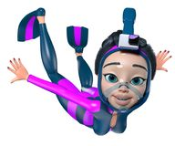 Snorkeling. A girl with long hair in a blue-purple diving suit is swimming underwater. She wears fins and a full-face snorkeling mask with an action camera. 3D Royalty Free Stock Image