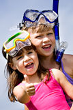Snorkeling girls Royalty Free Stock Images