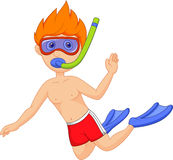 Snorkeling kid cartoon Royalty Free Stock Photos