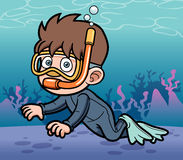 Snorkeling kid. Vector illustration of Snorkeling kid Royalty Free Stock Photo