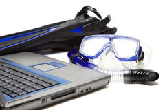 Snorkeling and laptop Royalty Free Stock Images