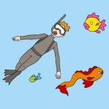 Snorkeling mężczyzna Zdjęcia Royalty Free