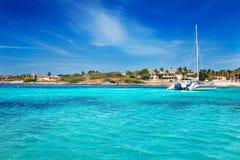 Snorkeling at Malmok Beach. California Lighthouse and Malmok Beach, Aruba Stock Images