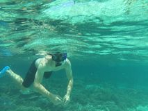 Snorkeling. Man Snorkeling in clear water Royalty Free Stock Photography