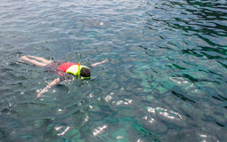 Snorkeling. A man snorkeling in crystal turquoise sea water Royalty Free Stock Photos