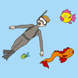 Snorkeling Man. An image of a man snorkeling underwater with fish Royalty Free Stock Photos