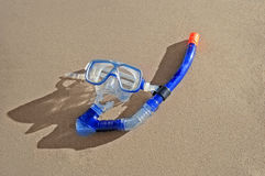 Snorkeling mask on a beach Royalty Free Stock Image