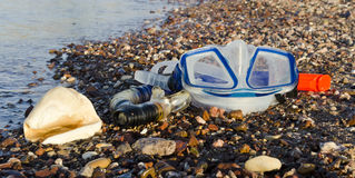 Snorkeling mask on a beach of coral reef, Eilat, Stock Photos