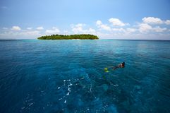 Snorkeling near uninhabited island. Island in the Indian Ocean, Maldives Stock Photos