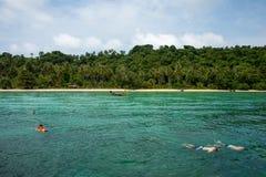 Snorkeling på korallrevön Arkivbild