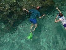 Snorkeling people. Two people snorkeling in clear ocean water near Green Island, Australia Stock Images