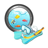 Snorkeling and porthole with the underwater world Stock Image