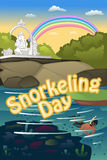 Snorkeling poster. A vector illustration of snorkeling poster Royalty Free Stock Photo