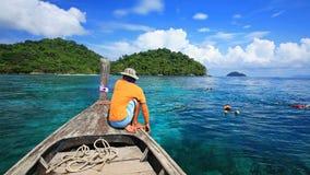 Snorkeling punkt przy krystalicznym morzem w Koh Surin Fotografia Stock